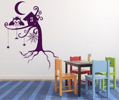 Vinyl Decal Animal Wall Stickers Fairy Story Tree Forest Spider Web Owl Night Moon (n468)