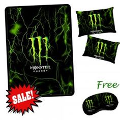 Monster Energy Couple Blanket Extra Large + 2 Pillow Case and free Sleeping Mask  $100