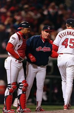 Manager Mike Hargrove expertly led the Tribe to their World Series appearance. Cleveland Against The World, Cleveland Indians Baseball, Baseball Helmet, Sports Images, American League, Great Team, World Series, Sports Fan Shop, Baseball Cards