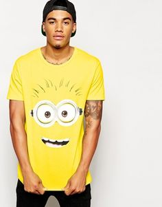 ASOS T-Shirt With Minion Face Print And Skater Fit