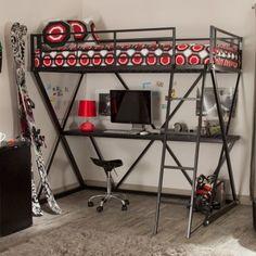 Duro Z Bunk Bed Loft with Desk - Black - Bunk Beds & Loft Beds at Hayneedle