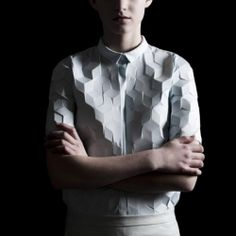 "Alba Prat's new project ""Digitized"" Inspired by Tron. Love this new style of geometric fashion"