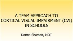 This downloadable PDF, by Occupational Therapist Donna Shaman, explains what CVI is in very easy to follow terms and develops a program that teachers and therapists can use to best teach students with CVI. The team-centered strategy that Donna encourages works best with family involvement too, so this can be a great way for parents to approach their school districts if they feel their child needs more structure in class.