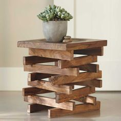 Wood Stack Stool 16w x 16d x 17.75 high can be used as a table, stool or grouped for a coffee table  198.00