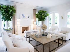 White living room with fiddle leaf figs via JK Kling Associates