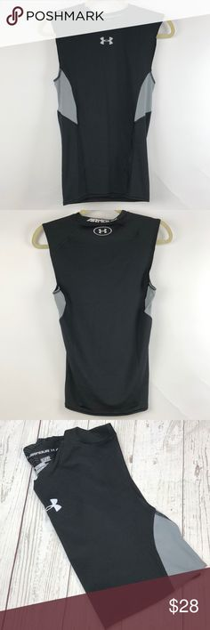 Under Armour compression sleeve less men's small Thanks for stopping by at OneManlyShop!!   Item: Men's Under Armour compression sleeve less muscle tank top. NWT. Sizes SM/P. Black and Gary.   Please flee free to ask any question. Thanks for looking at OneManlyShop closet. Under Armour Shirts Tank Tops