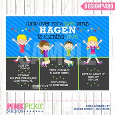 TRAMPOLINE Birthday Party INVITATION or Thank by PinkPickleParties, $10.00