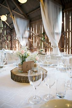 The right decor for a barn wedding. Welcome To The Web, When I Get Married, Wedding Decorations, Table Decorations, Wedding Table Settings, Wedding Locations, Wedding Inspiration, Wedding Ideas, Logs