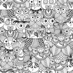 Vector Seamless Pattern with Doodle owls Stock Vector