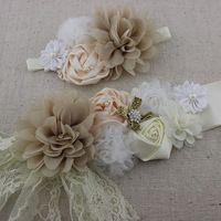 2 unids/set Vintage marfil sash cinturón diadema a juego, correa de la flor, niñas sash encaje con la perla piedras, faja de maternidad