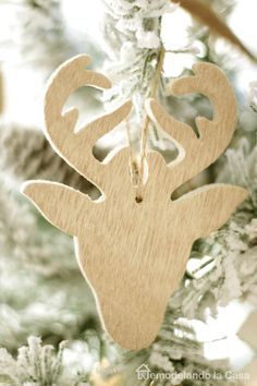 Wooden deer silhouette ornament                              …