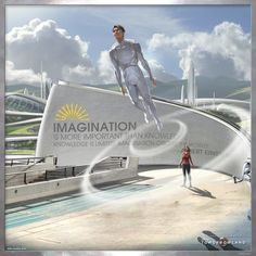 """""""Imagination is more improtant than knowledge. Knowledge is limited, imagination circles the world. Tomorrowland is out on Blu-ray™, Digital HD & Disney Movies Anywhere Oct. Futuristic City, Futuristic Technology, World Of Tomorrow, Tomorrow Land, Arte Sci Fi, Marvel Actors, Future City, Retro Futurism, Sci Fi Fantasy"""