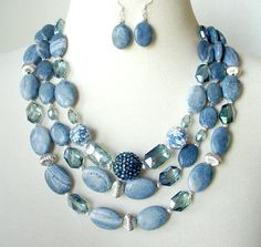 Denim Blue Gemstone Statement Necklace, Multi Strand, Big Bold Chunky Large Bead, Layered, 2 Piece Set - pinned by pin4etsy.com