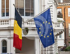 Flags over the Belgian embassy in London