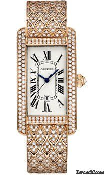 Cartier Tank Americaine Medium $101,260 #Cartier #watch #watches #chronograph 41.6 x 22.6 mm by 9.65 mm thick 18K pink gold case set with diamonds