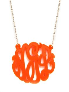 Monogrammed-Orange Necklace, Is A Classic Vintage  Charm With the Bright Color Of The Season!