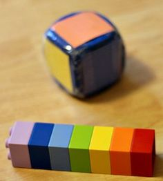Roll a Rainbow Tower, I like this idea for attributes, matching, and task completion