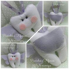 Dente de feltro Tooth Pillow, Tooth Fairy Pillow, Felt Crafts Patterns, Sewing Patterns, Craft Day, Felt Dolls, Soft Sculpture, Felt Flowers, Kids Playing