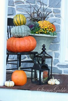 20 Fantastic Fall Porches - The Cottage Market  USE a chair in the corner