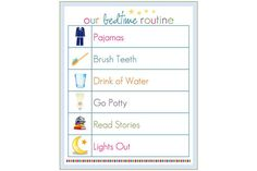 Bedtime routine template. Print out in color.