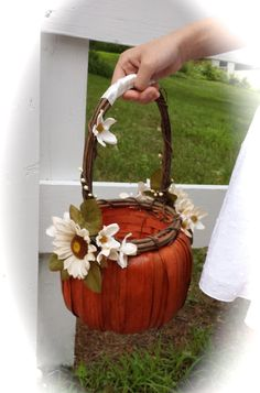 *New* Autumn Wedding Pumpkin Flower Girl Basket in ivory  by TellableDesign on Etsy