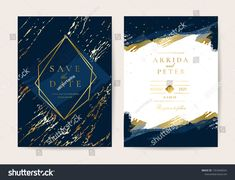 Wedding Invitation, Thank you card, rsvp, posters design collection. Trendy indigo blue and white Marble background texture - Vector royalty free image vector