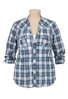 Maurices Premium Plaid Embellished Shirt (original price, $46) available at #Maurices