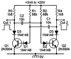 High-stability version of the basic Figure 2 1 kHz astable multivibrator circuit.