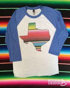 127056fdf7 Serape Texas /graphic tee/heather white and blue tri-blend 3/4 sleeve  Unisex Raglan/baseball tee