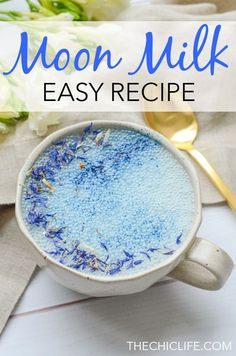 recipes healthy eating Goodnight Moon Milk Recipe with Blue Majik and Reishi Add this easy Moon Milk recipe to your night time routine to enjoy soothing adaptogen benefits with this plant-based, clean eating drink recipe featuring Blue Majik and Reishi. Milk Recipes, Real Food Recipes, Cooking Recipes, Healthy Recipes, Advocare Recipes, Alcohol Recipes, Dessert Recipes, Yummy Drinks, Healthy Drinks