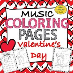 These Valentine's Day music coloring pages integrate math into music!