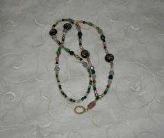Pink Green Black and Gold Lanyard by Alisonsjewelryshop on Etsy, $21.98