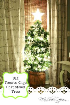 DIY tomato cage Christmas tree tutorial. I love that this incorporates real pine branches without cutting down a tree!