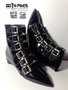 Pikes Winklepickers classic 6 buckle boots Goth Gothic Batcave WGT Siouxsie 80s UNISEX Patent Leather Vegan Suede