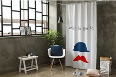 Red Mustache Black Out Wide Fabric for Curtains one by cottonholic