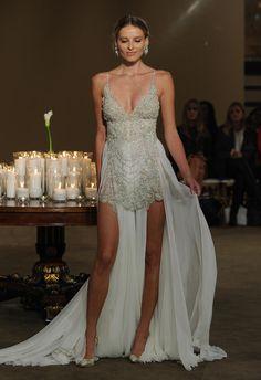 Gala by Galia Lahav greek-inspired beaded wedding dress with pleated underlay from Fall 2016 | https://www.theknot.com/content/gala-by-galia-wedding-dresses-bridal-fashion-week-fall-2016