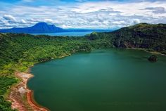 Crater Lake on Volcano Island on Taal Lake.  Vulcan Point is visible on the right.   - photo by Joanneq Escobar on Flickr;  There is an island (Vulcan Point) in a lake (Crater Lake) on an island (Volcano Island) in a lake (Taal Lake) on an island (Luzon) in the Philippines!