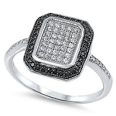 Sterling Silver Ring Size 5 J CZ Stone Square Setting Black 925 Cocktail Formal