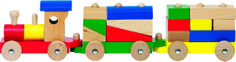 Natural and high quality toys to the development of the skills of children. Train Rome, with 13 building bricks