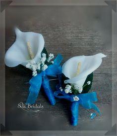 White Calla Lily Boutonniere Malibu blue turquoise