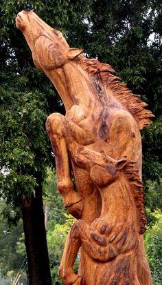 Tulsa Gentleman: Chainsaw Carving - Wild Horses