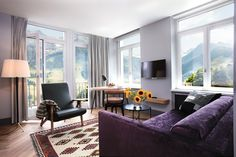 Parkhotel Bellevue & Spa, Bern, Switzerland: A chic spa hotel in the midst of the Alpine Alps. Contemporary Design, Modern Design, Adelboden, Hotel Meeting, White Building, Parquet Flooring, Retro Chic, Best Hotels, Living Area