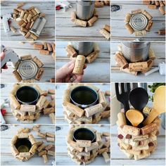 Wine cork craft project in process pics bottle crafts projects Wine Cork Craft Ideas - DIY Kitchen Utensil Holder Wine Craft, Wine Cork Crafts, Wine Bottle Crafts, Crafts With Corks, Wine Bottles, Wine Cork Projects, Craft Projects, Craft Ideas, Diy Crafts Gift Ideas