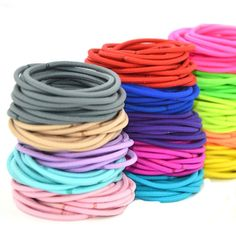 Cuhair(tm)fashion Women Girl 50pcs Assorted?mixed Color) Elastic Ponytail Holders Hair Tie Assorted Rope Rubber Bands Accessories -- You can get additional details at the image link. #hairgrowth