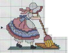sunbonet ponto cruz uploaded by Lurielly on We Heart It Cross Stitch For Kids, Cross Stitch Kitchen, Cross Stitch Cards, Cross Stitch Rose, Counted Cross Stitch Patterns, Cross Stitch Designs, Cross Stitching, Cross Stitch Embroidery, Plastic Canvas Patterns