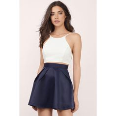 Tobi The Wish Skater Skirt (220 BRL) ❤ liked on Polyvore featuring skirts, navy, knee length pleated skirt, circle skirt, navy skater skirt, pleated skater skirt and skater skirts