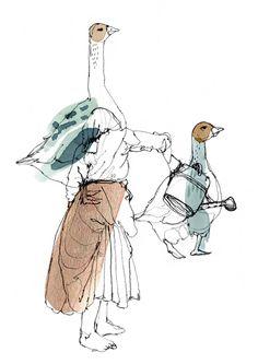 Watering Geese (Giclee print). £15.00, via Etsy.