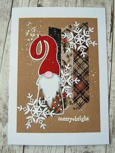 A Gnome Invasion Homemade Christmas Cards, Stampin Up Christmas, Christmas Gnome, Christmas Cards To Make, Christmas Projects, Christmas Greetings, Homemade Cards, Holiday Cards, Handmade Christmas