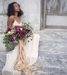A beautiful bouquet with cascading silk ribbon! Cc: @silkandwillow A sneak peek into this beautiful editorial by @jannabrowndesign with @katiegrantphoto | creative direction, styling + florals: @jannabrowndesign | hamu: @ashleysievertbeauty | model: @brookehahli | paper goods: @juliehacalligraphy | rings:@susiesaltzman |  debuting our Botanical Print #silkribbon #silkandwillow #BlackBride1998