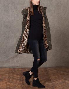Parka forro leopardo